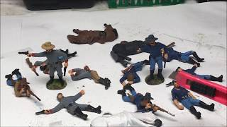 Painting Toy Soliders of San Diego's Civil War Dismounted Calvary with Casualties