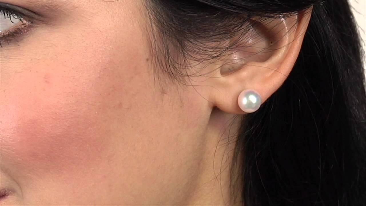 stud pearl pink freshwater earrings