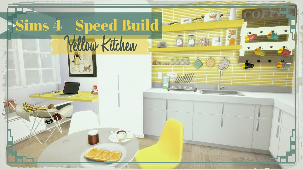 Sims 4 - Yellow Kitchen with Desk - YouTube