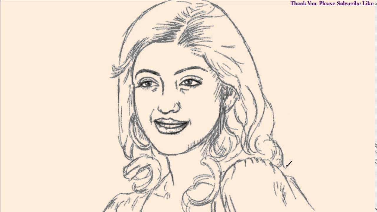 Live drawing of praneetha tollywood kollywood indian telugu tamil actress quick sketch how to draw youtube