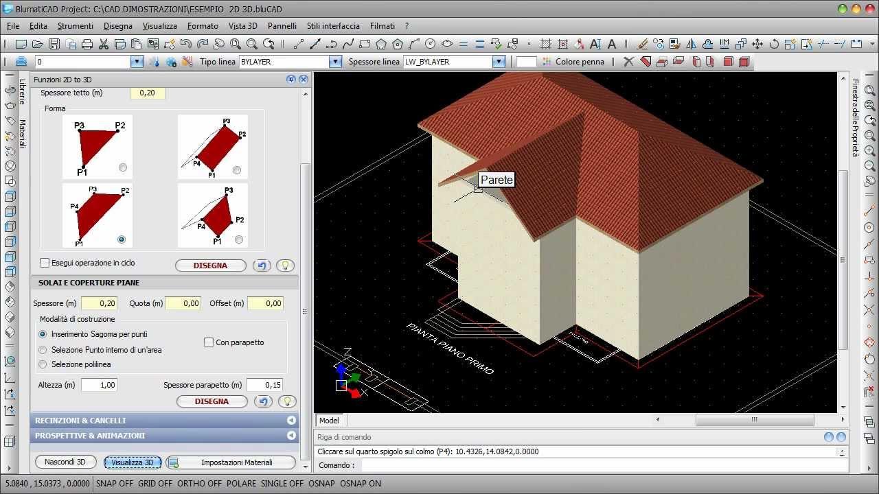 Blumaticad project modulo easy 3d trasformazione dal 2d for Progetti in 3d gratis