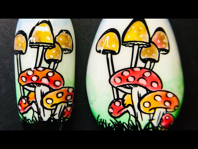 Live_ Mushroom nail art and pebble rock stamping art design with sticky stamping polish _SheModern