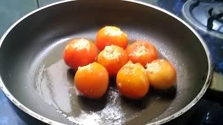 Bharwa Tamatar / Tasty Stuffed Tomato / Indian Thali
