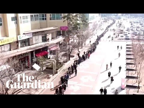 Coronavirus: Drone Footage Shows Enormous Queues For Masks In South Korea