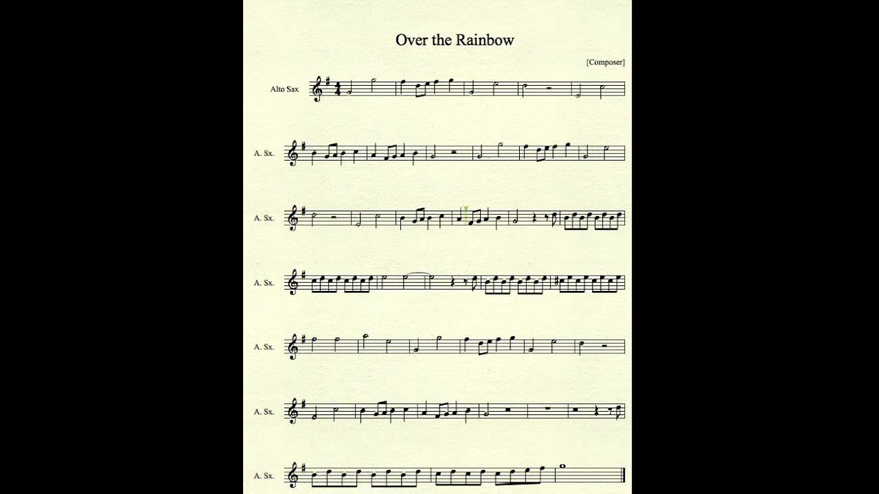 Over The Rainbow For Alto Sax Youtube