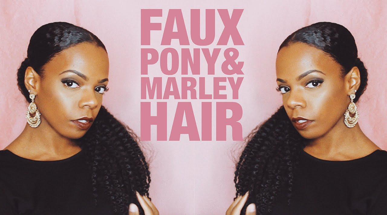 Faux Pony with Marley Hair | Natural Hair - YouTube