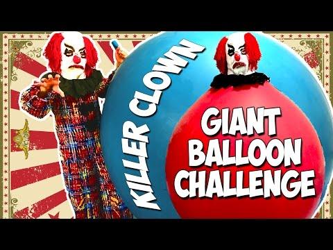 GIANT BALLOON Challenge - Killer Clown Balloon Challenge