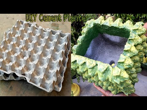 DIY cement pot making at home || cement craft ideas || flower pot || cement ideas for garden