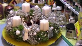 Adventskranz aus Stacheldraht Pflanze und Moos - Weihnachtsdeko selber basteln