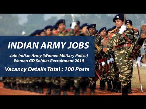 INDIAN ARMY JOBS - Women GD Soldier Recruitment 2019