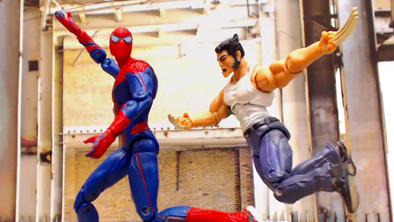Spider-Man Captain America Thor Stop Motion Action Video (Part 3) w toys