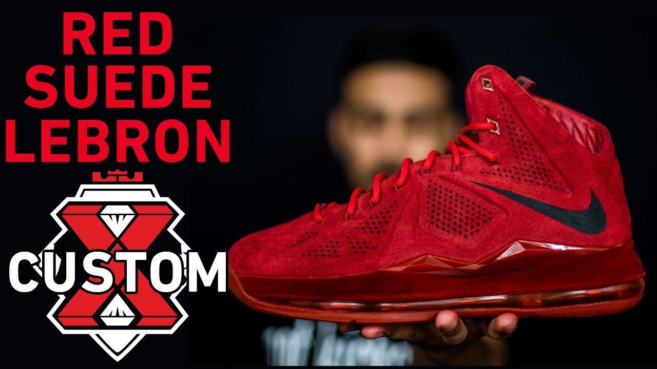 edafe13b051 Red Suede LeBron Sample Custom - Complete Dye - YouTube
