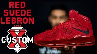 Red Suede LeBron Sample Custom - Complete Dye