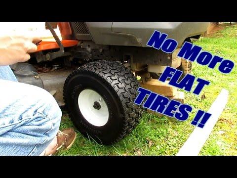 Install Flat Free Tires On Husqvarna Yard Tractor Youtube