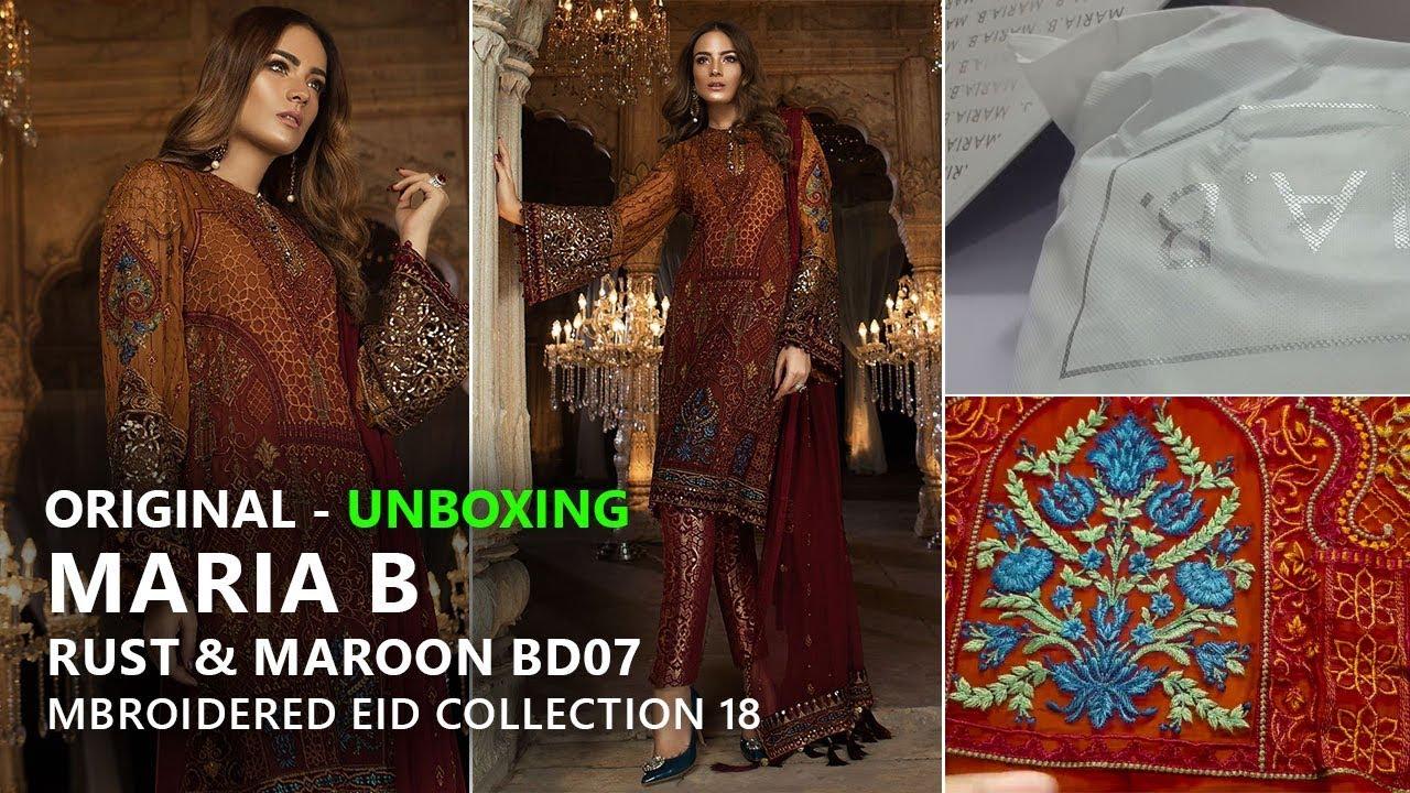 b716dc336e Maria B Eid Collection 2018 - Unbox Rust & Maroon BD-1407 - Pakistani  Branded Dresses