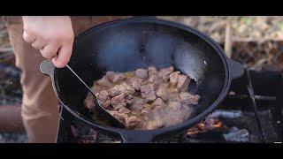 Рецепт из мяса с овощами. Классический чашушули в казане на костре.