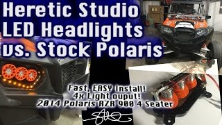 Heretic Studio LED Headlights vs. Stock - Polaris RZR 900 4 seater SUPER BRIGHT!  EASY INSTALL!