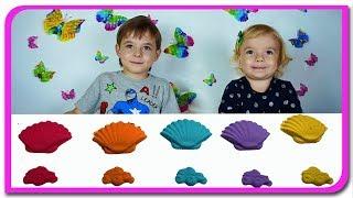 Invatam culorile cu nisip kinetic  Video educativ pentru copii  Anabella Show