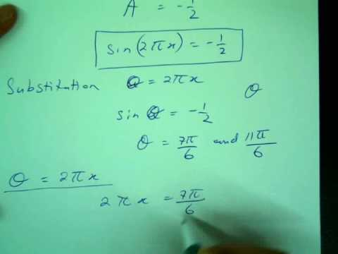 Solving a more complex trig equation over an interval - YouTube