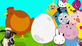 Egg Surprise Song with Peppa Pig Hello Kitty Miffy Bumba Barney Trotro Teletubbies