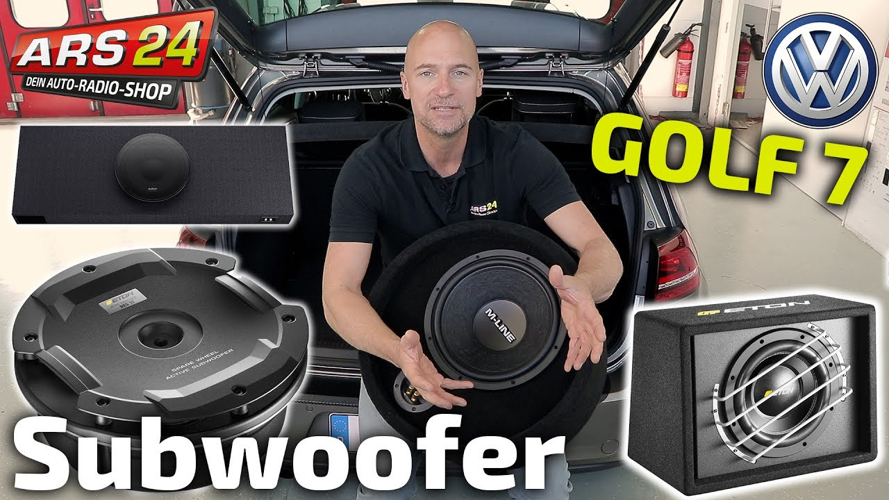 subwoofer installieren im vw golf 7 eton res11. Black Bedroom Furniture Sets. Home Design Ideas