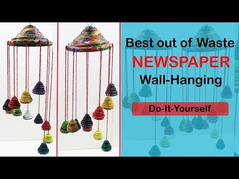 BEST OUT OF WASTE WIND CHIME - NEWSPAPER WALL HANGING IDEAS - DIY PAPER WIND CHIMES MAKING AT HOME