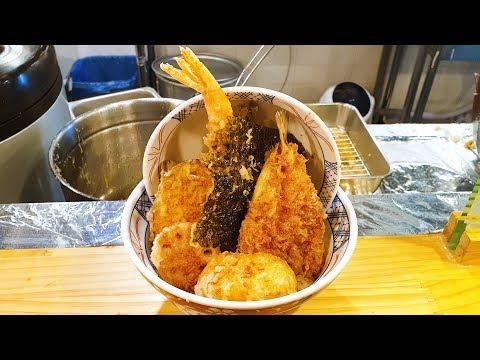 백종원이 극찬한 튀김덮밥 온센텐동 근황, 신포시장 골목식당, Bowl of rice and fried fish, fried vegetables, Korean street food
