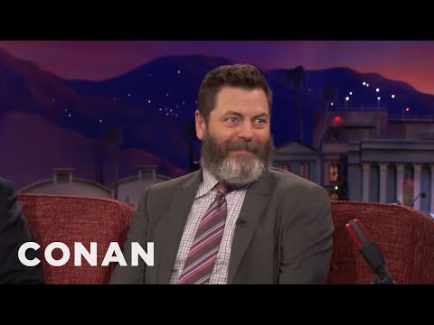Nick Offerman Ate A Lot Of Fatty Meats With Chris Pratt   CONAN on TBS