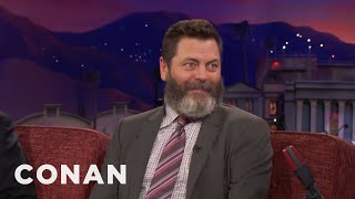 Nick Offerman Ate A Lot Of Fatty Meats With Chris Pratt  - CONAN on TBS