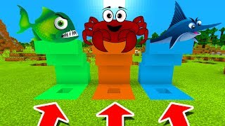 Minecraft PE : DO NOT CHOOSE THE WRONG HOLE! (Piranha, Crab & SwordFish)