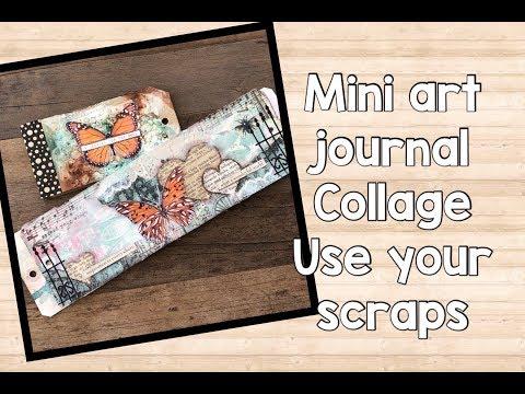 Mini art journal collage style - use your scraps thumbnail