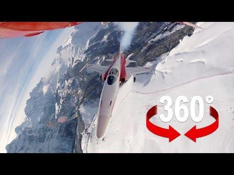 Fighter jet over Lauberhorn ski race – cockpit view 360°