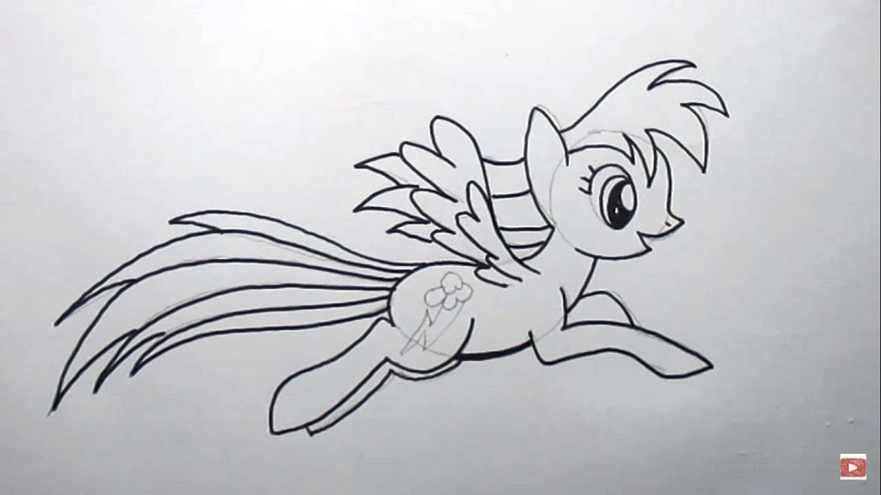 Cara Menggambar Rainbow Dash From My Little Pony How To Draw