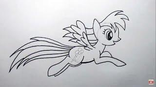 cara menggambar Rainbow Dash from My Little Pony (how to draw Rainbow Dash from My Little Pony)