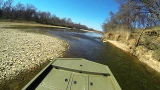 Brazos river shallow water running in the jet drive -short clip.