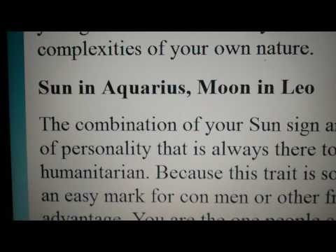 Sun in Aquarius with Moon in Leo - YouTube