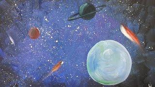Рисуем КОСМОС гуашью [Картина за 3 минуты!](Как нарисовать космос гуашью? Смотрите в этом видео! Для рисования понадобится сухой темный фончик ;) Матери..., 2015-04-17T13:56:59.000Z)