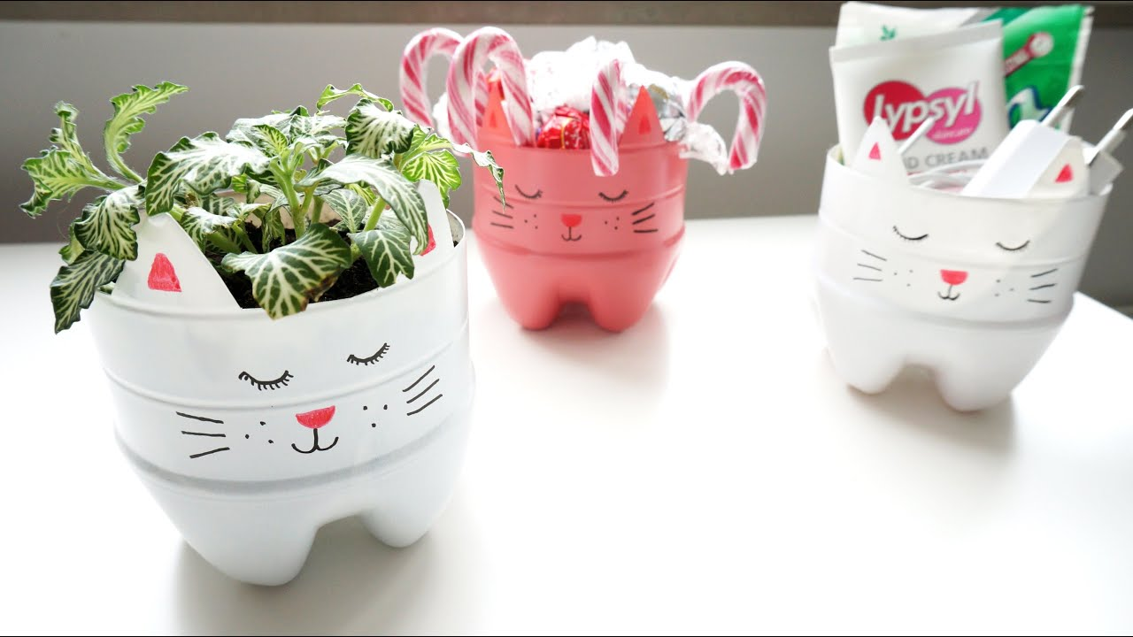 How To Make A Recycled Soda Bottle Kitty Planter Organizer
