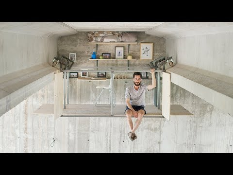 Fernando Abellanas suspends micro studio beneath a bridge in