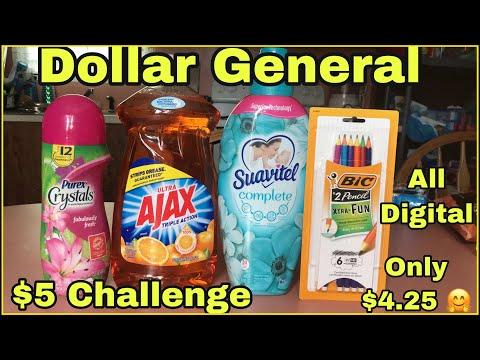 Dollar General $5 Challenge | Easy All Digital Deal 🥰 $4.25 For All | FREE PENCILS 🎉