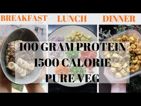 FULL DAY INDIAN MEAL PREP 1500 calories in 15 mins • 100G PROTEIN • PURE VEGETARIAN RECIPES / DIET