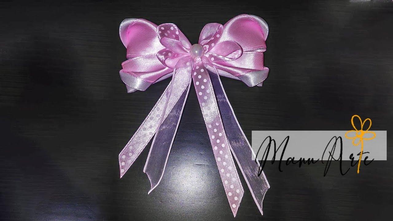c388357a8 Moño o lazo en cinta para vestidos de niña DIY