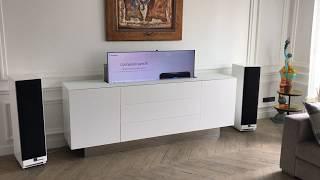 sb concept realisation elegance et technologie meuble tv elevateur 65 pouces avec rotation