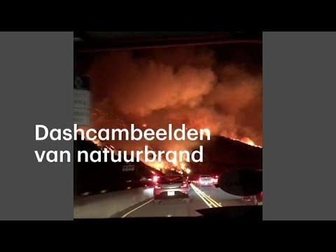 Indrukwekkende dashcambeelden van natuurbrand Californië - RTL NIEUWS