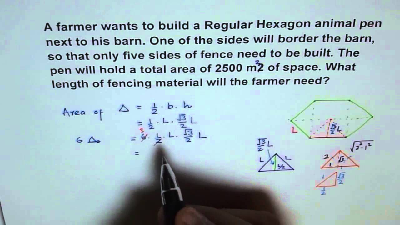 Find Hexagon Fence Perimeter From Given Area