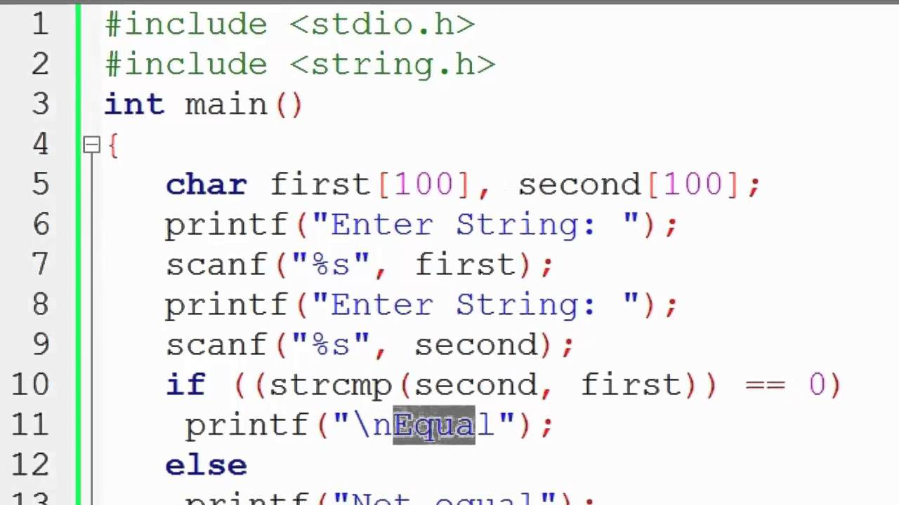 Compare two string using strcmp function - YouTube