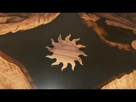 Foldable Solar Epoxy Resin Coffee Table - Black Walnut