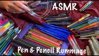 ASMR Request/Pen & pencil rummage and organization/Some heavy plastic crinkles (No talking )