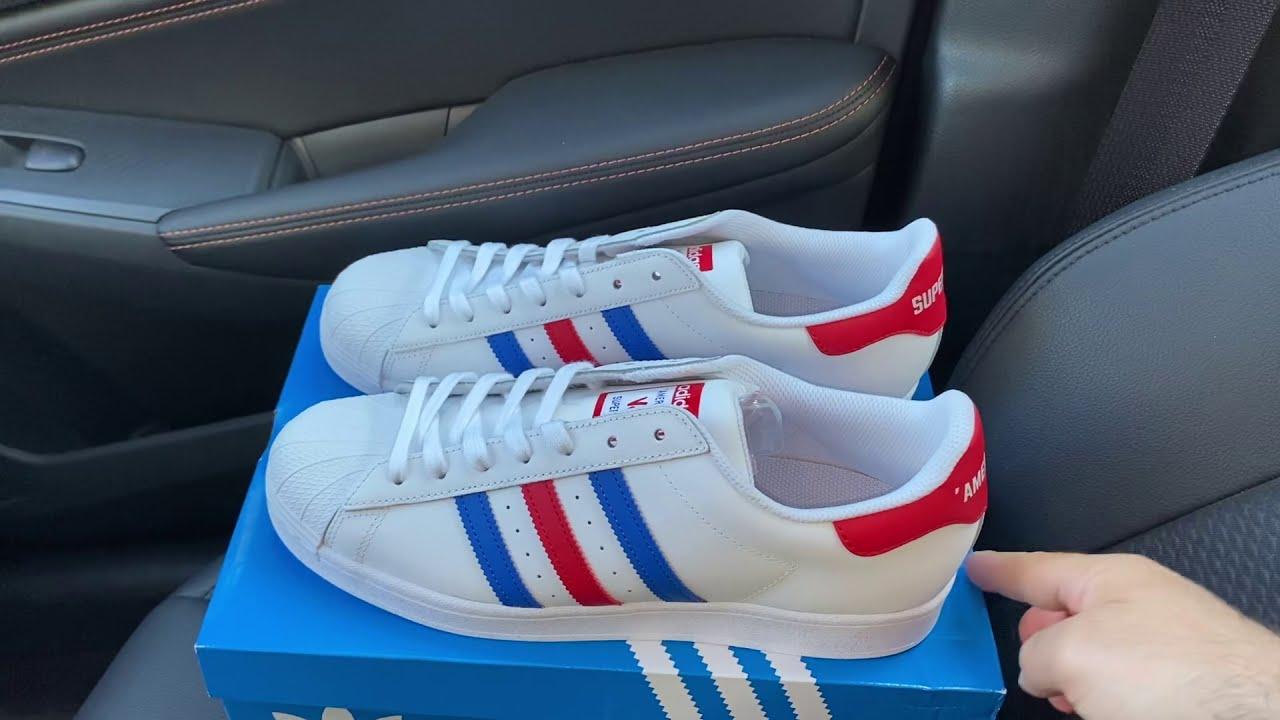 Omitido Bajar medio  Adidas Superstar Americana USA White Blue Red shoes - YouTube