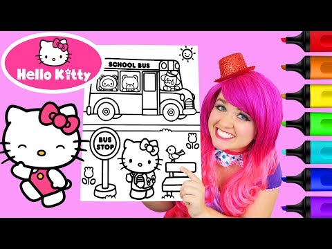 Coloring Hello Kitty School Bus Coloring Book Page Prismacolor Colored Markers | KiMMi THE CLOWN